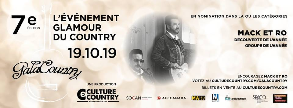 Mack et Ro obtient 2 nominations au Gala Country